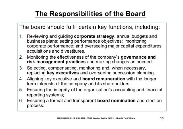 The Responsibilities of the Board  The board should fulfil certain key functions, including:  1. Reviewing and guiding cor...