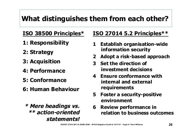 What distinguishes them from each other?  ISO 38500 Principles*  1: Responsibility  2: Strategy  3: Acquisition  4: Perfor...