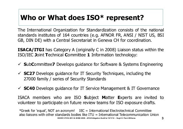 Who or What does ISO* represent?  The International Organization for Standardization consists of the national  standards i...