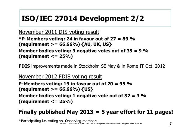 ISO/IEC 27014 Development 2/2  November 2011 DIS voting result  *P-Members voting: 24 in favour out of 27 = 89 %  (require...