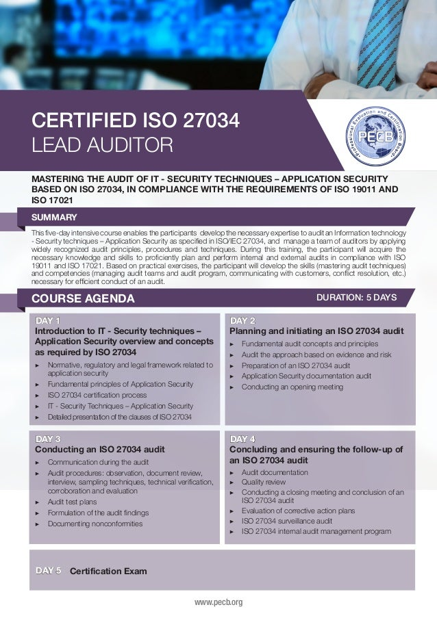 CERTIFIED ISO 27034 LEAD AUDITOR MASTERING THE AUDIT OF IT - SECURITY TECHNIQUES – APPLICATION SECURITY BASED ON ISO 27034...