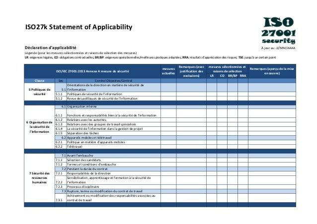 ISO27k Statement of Applicability Déclaration d'applicabilité À jour au: JJ/MM/AAAA Légende (pour les mesures sélectionnée...