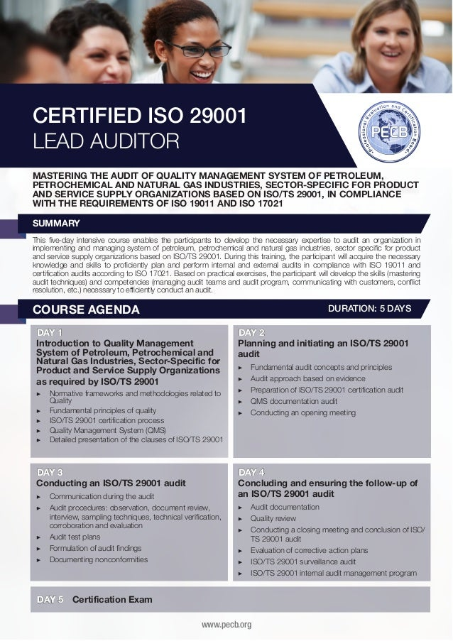 CERTIFIED ISO 29001 LEAD AUDITOR MASTERING THE AUDIT OF QUALITY MANAGEMENT SYSTEM OF PETROLEUM, PETROCHEMICAL AND NATURAL ...