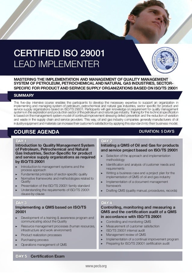 CERTIFIED ISO 29001 LEAD IMPLEMENTER MASTERING THE IMPLEMENTATION AND MANAGEMENT OF QUALITY MANAGEMENT SYSTEM OF PETROLEUM...