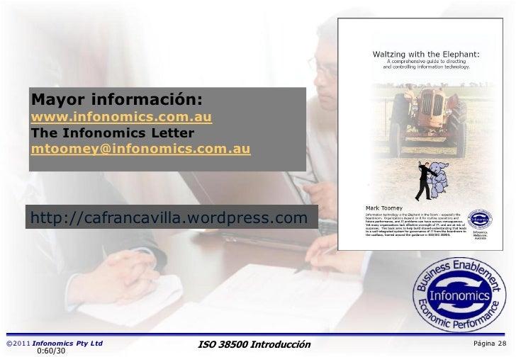 Mayor información:      www.infonomics.com.au      The Infonomics Letter      mtoomey@infonomics.com.au     http://cafranc...