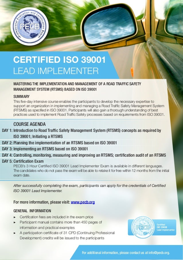 ISO 39001 Lead Implementer - One Page Brochure