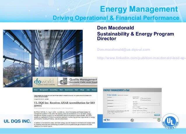 Energy Management Driving Operational & Financial Performance Don Macdonald Sustainability & Energy Program Director Don.m...