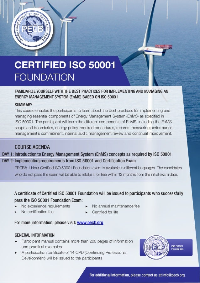 CERTIFIED ISO 50001 FOUNDATION FAMILIARIZE YOURSELF WITH THE BEST PRACTICES FOR IMPLEMENTING AND MANAGING AN ENERGY MANAGE...
