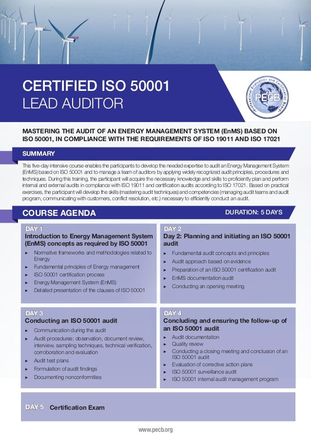 CERTIFIED ISO 50001 LEAD AUDITOR MASTERING THE AUDIT OF AN ENERGY MANAGEMENT SYSTEM (EnMS) BASED ON ISO 50001, IN COMPLIAN...