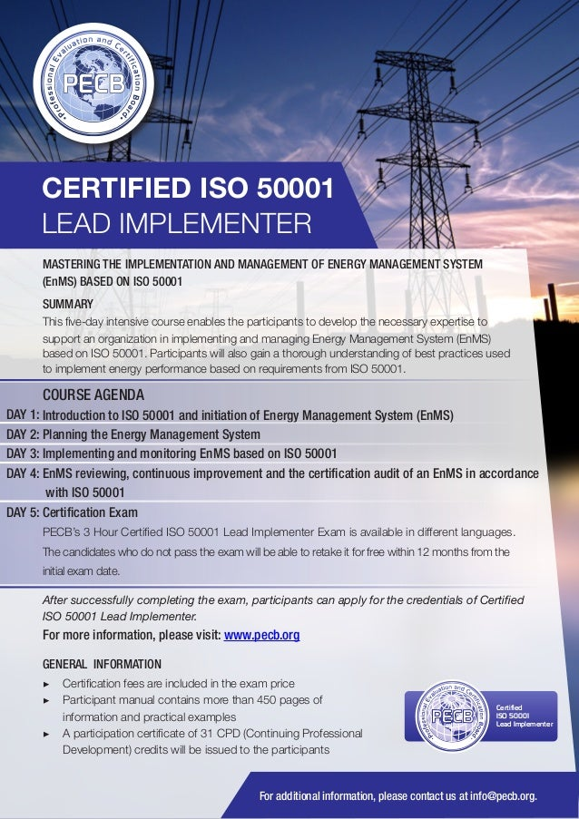 CERTIFIED ISO 50001 LEAD IMPLEMENTER MASTERING THE IMPLEMENTATION AND MANAGEMENT OF ENERGY MANAGEMENT SYSTEM (EnMS) BASED ...