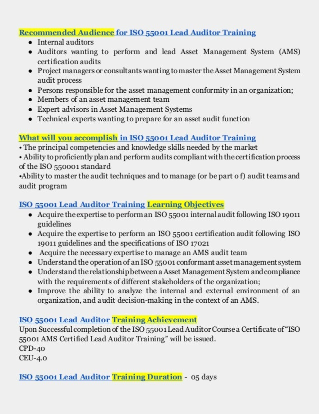 Iso 55001 Iso 55001 Lead Auditor Training