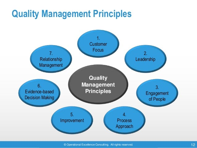 © Operational Excellence Consulting. All rights reserved. 12 Quality Management Principles 1. Customer Focus 2. Leadership...
