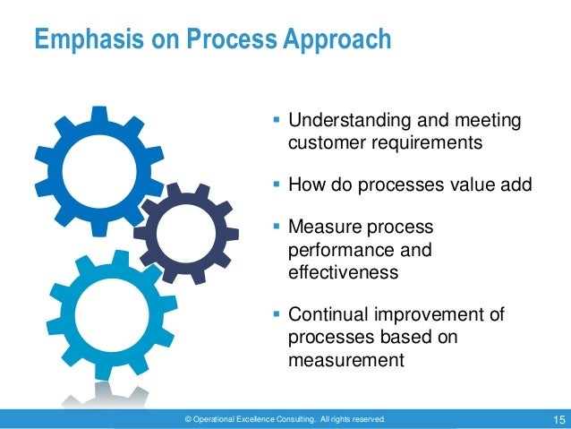 © Operational Excellence Consulting. All rights reserved. 15 Emphasis on Process Approach  Understanding and meeting cust...