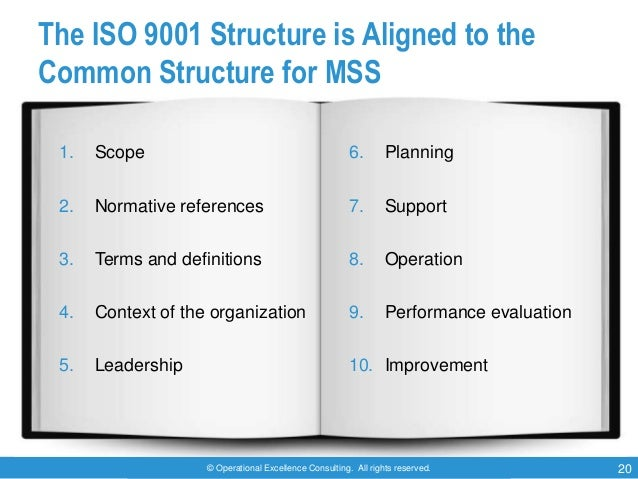 © Operational Excellence Consulting. All rights reserved. 20 The ISO 9001 Structure is Aligned to the Common Structure for...