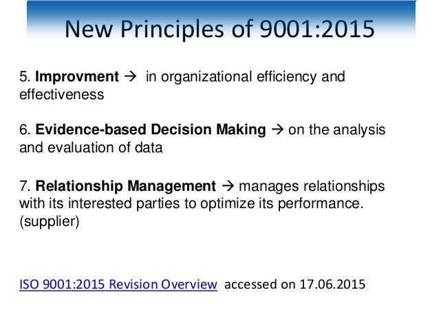 New Principles of 9001:2015 5. Improvment  in organizational efficiency and effectiveness 6. Evidence-based Decision Maki...