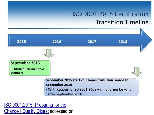 ISO 9001:2015 Certification Transition Timeline September 2015 start of 3 years transition period to September 2018 •Certi...
