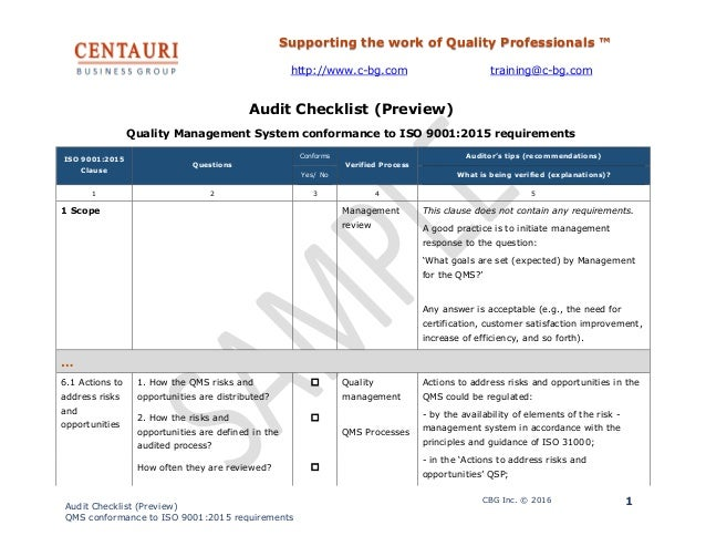 ISO 9001:2015 Audit Checklist Preview