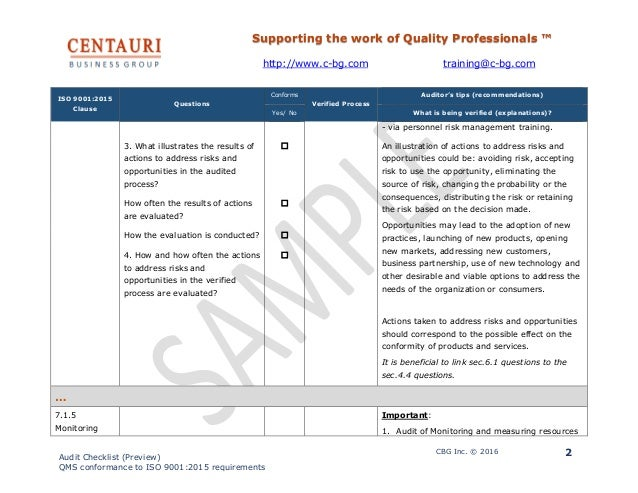 Iso 90012015 audit checklist preview 2 pronofoot35fo Images