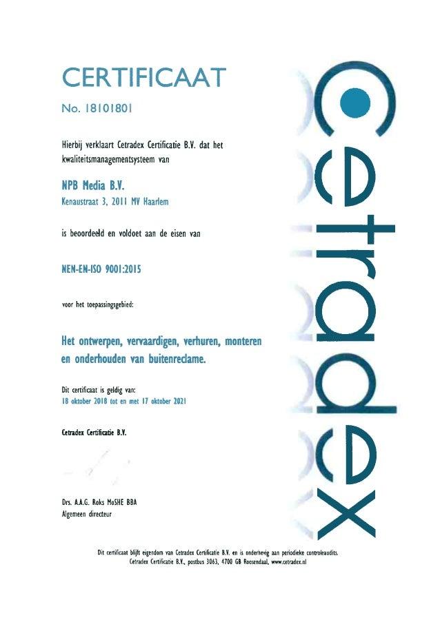 NPB Media | ISO 9001