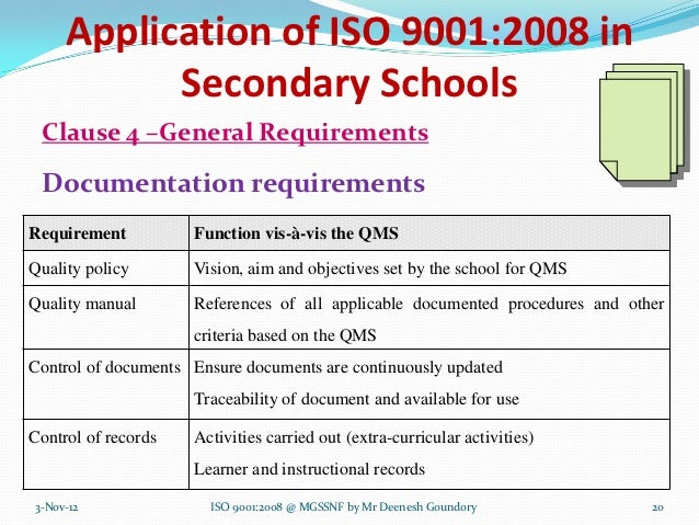 Application of ISO 9001:2008 in           Secondary Schools Clause 4 –General Requirements Documentation requirementsRequi...