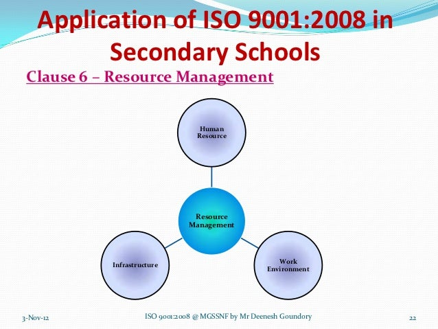 Application of ISO 9001:2008 in          Secondary Schools Clause 6 – Resource Management                                 ...