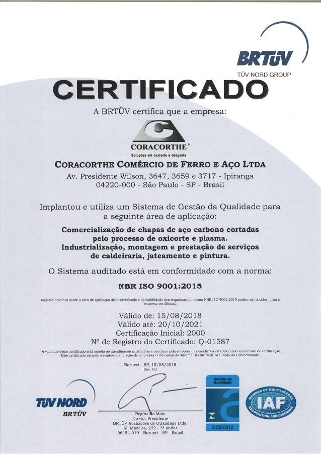 Certificado ISO 9001:2015 | BRTÜV – TÜV NORD GROUP - Coracorthe