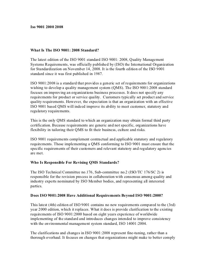 Iso 9001 2000 2008What Is The ISO 9001: 2008 Standard?The latest edition of the ISO 9001 standard ISO 9001: 2008, Quality ...
