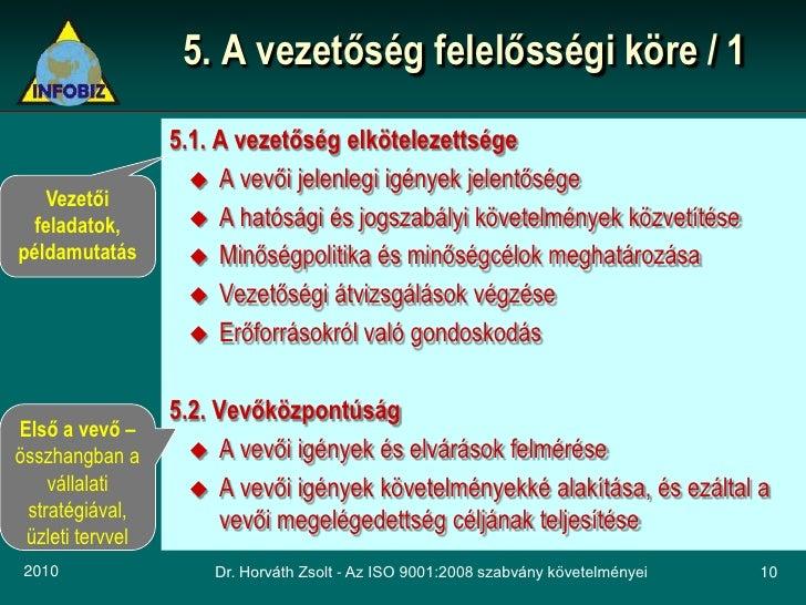 5. A vezetőség felelősségi köre / 1                   5.1. A vezetőség elkötelezettsége                      A vevői jele...