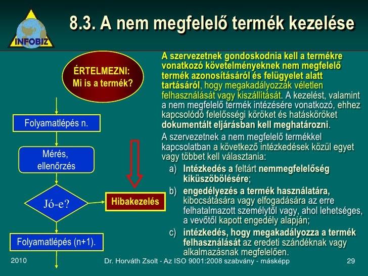 8.3. A nem megfelelő termék kezelése                                       A szervezetnek gondoskodnia kell a termékre    ...