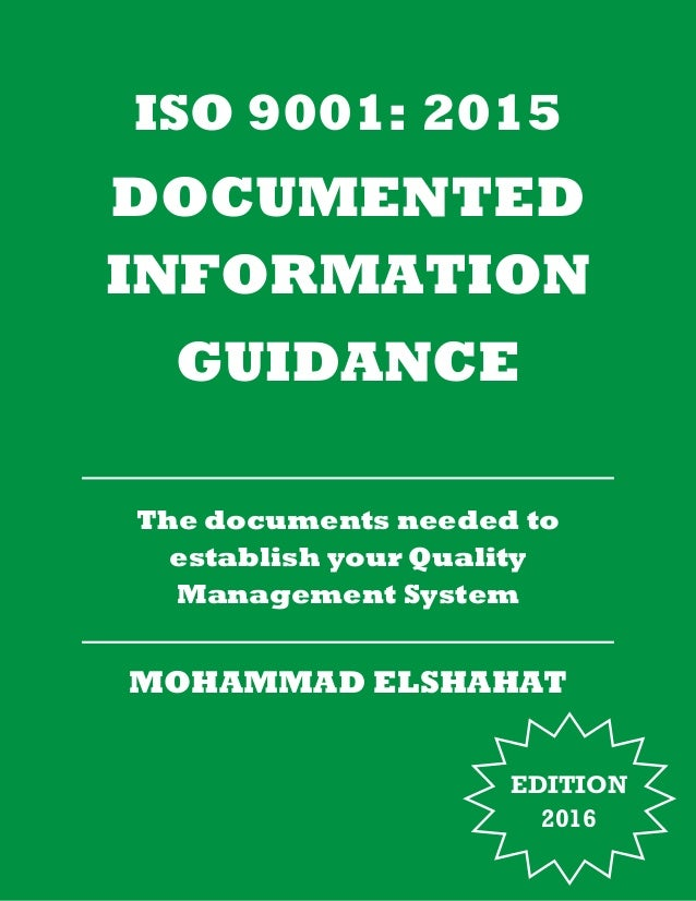 Iso 9001:2015 Documented Information Guidance