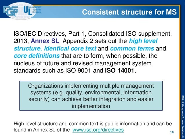 DQS-UL Management Systems Solutions ©  Consistent structure for MS  ISO/IEC Directives, Part 1, Consolidated ISO supplemen...