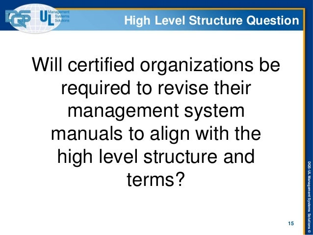 DQS-UL Management Systems Solutions ©  High Level Structure Question  Will certified organizations be required to revise t...