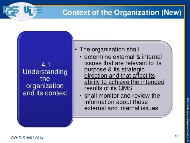 DQS-UL Management Systems Solutions ©  Context of the Organization (New)  •The organization shall  •determine external & i...