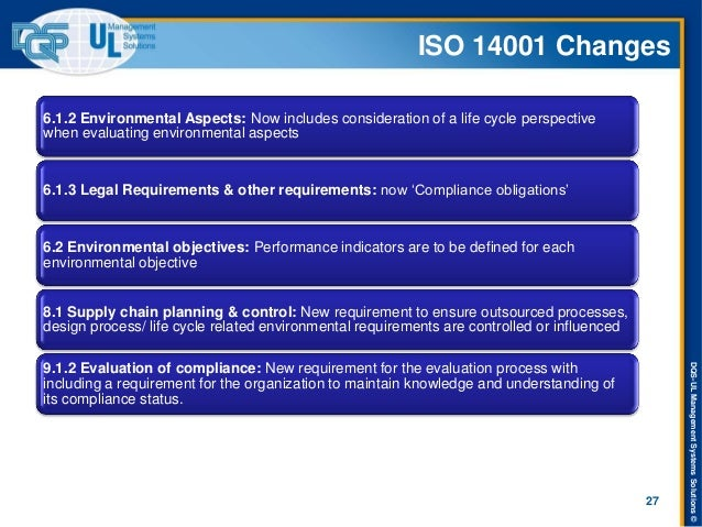 DQS-UL Management Systems Solutions ©  ISO 14001 Changes  27  6.1.2 Environmental Aspects: Now includes consideration of a...