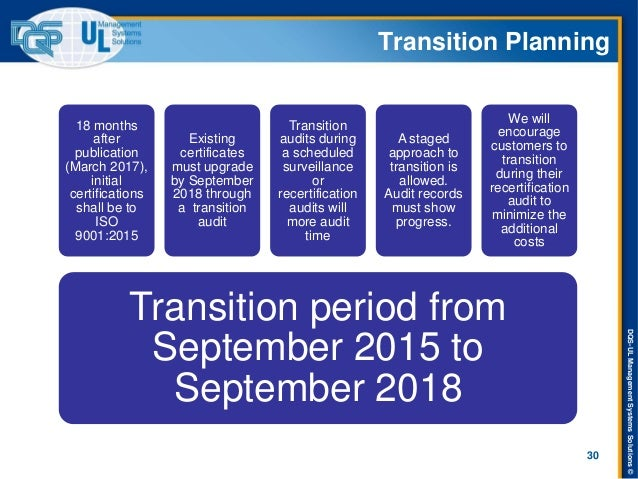 DQS-UL Management Systems Solutions ©  Transition Planning  Transition period from September 2015 to September 2018  18 mo...