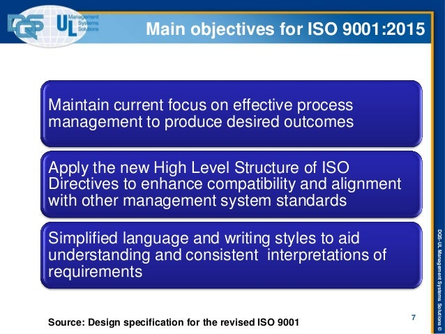 DQS-UL Management Systems Solutions ©  Main objectives for ISO 9001:2015  Maintain current focus on effective process mana...