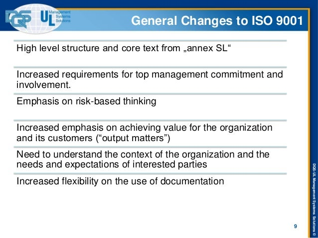 """DQS-UL Management Systems Solutions ©  General Changes to ISO 9001  High level structure and core text from """"annex SL""""  In..."""