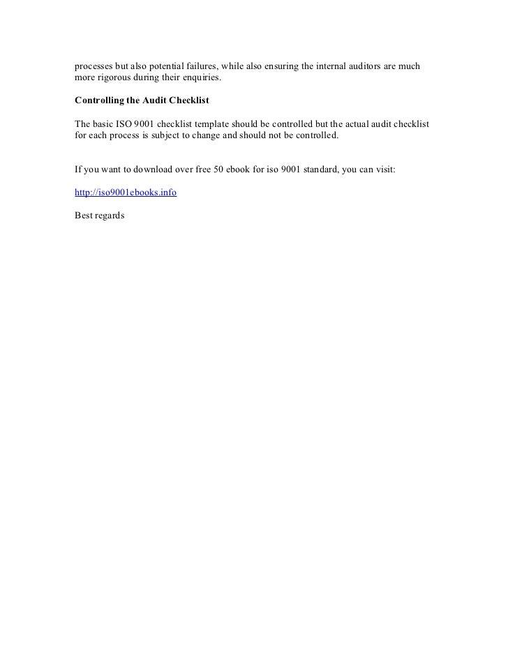 iso 9001 checklist audit pdf