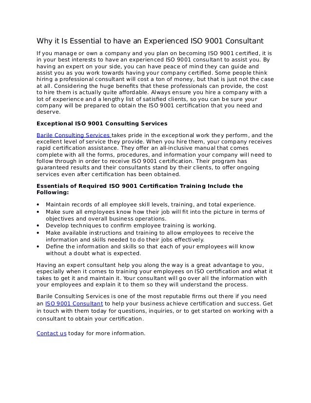 Iso 9001 Consulting Certification Services
