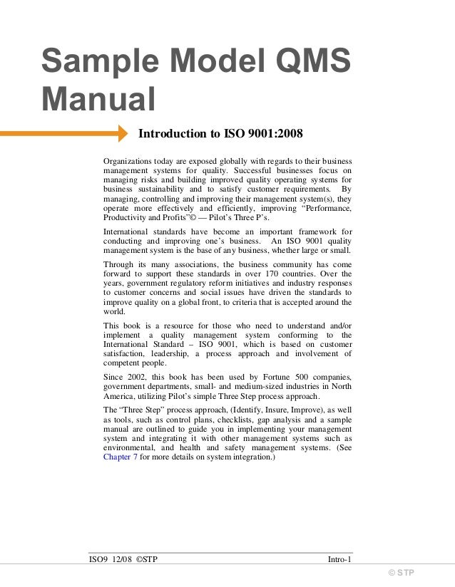 Qms Manual Example - Wiring Library •