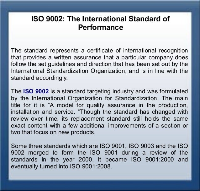 Iso 9002 Quality Assurance Systems