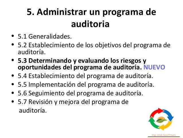 5. Administrar un programa de auditoria El programa debe definir los recursos necesarios para realizarlo de forma efectiva...
