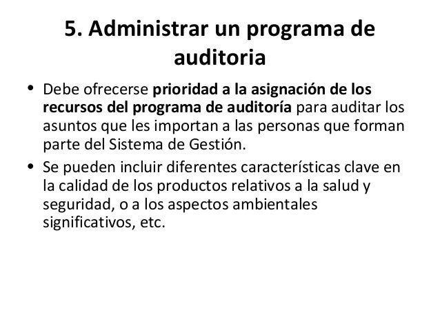5. Administrar un programa de auditoria • Puede haber riesgos asociados con lo siguiente: a) planificación, p. ej., imposi...