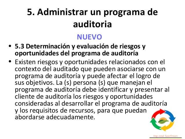 5. Administrar un programa de auditoria e) implementación, por ejemplo, coordinación ineficaz de las auditorías dentro del...