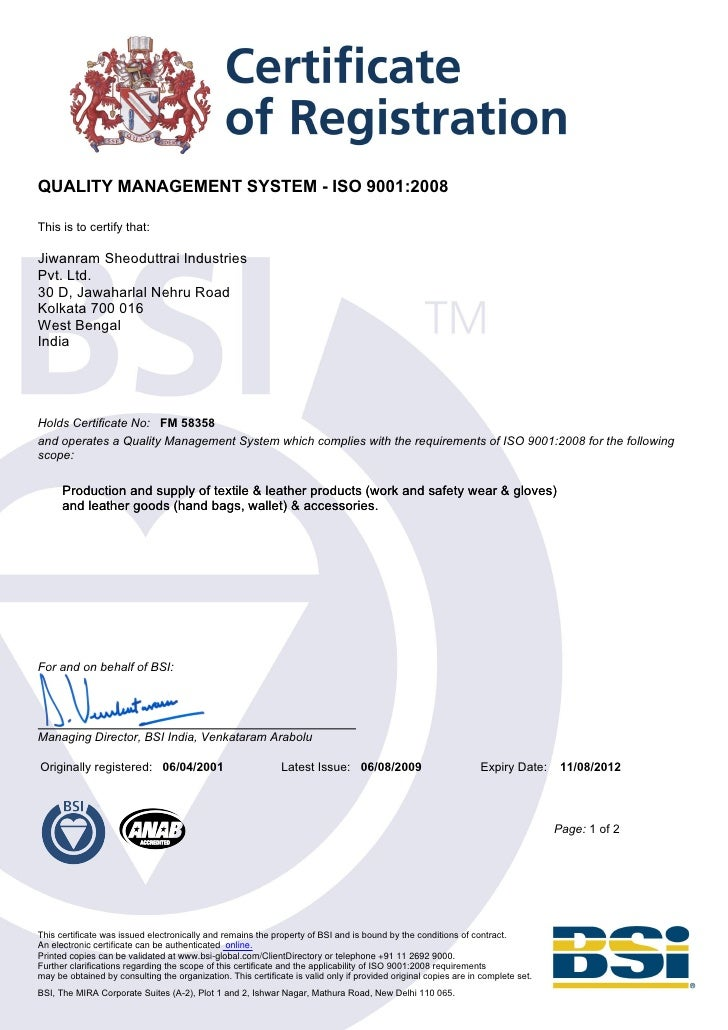 Iso Certificate 9001 2008 Jiwanram Sheoduttrai Industries Pvt Ltd