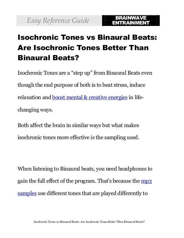 Isochronic Tones vs Binaural Beats - Isochronic Tones Are Better Than…
