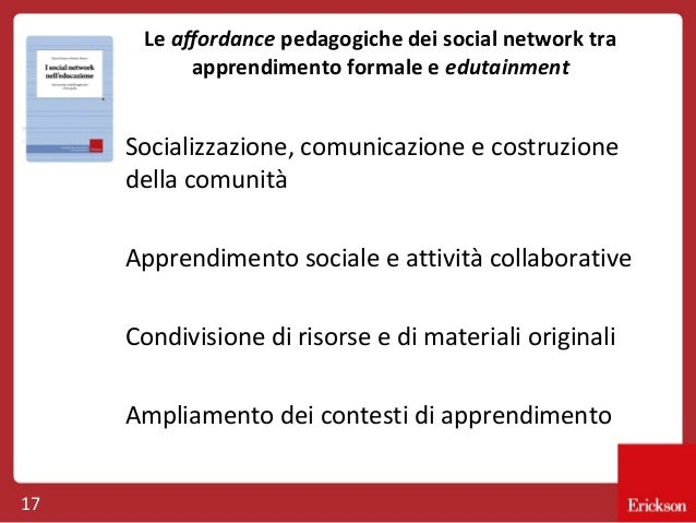 Le affordance pedagogiche dei social network tra apprendimento formale e edutainment  Socializzazione, comunicazione e cos...