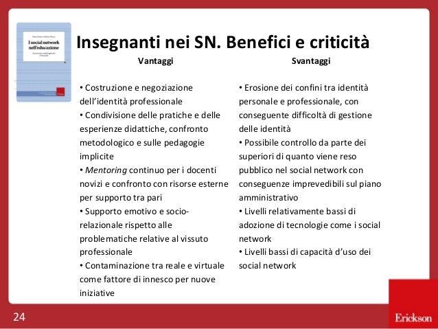 Insegnanti nei SN. Benefici e criticità Vantaggi • Costruzione e negoziazione dell'identità professionale • Condivisione d...