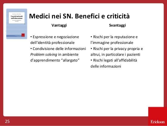 Medici nei SN. Benefici e criticità Vantaggi • Espressione e negoziazione dell'identità professionale • Condivisione delle...