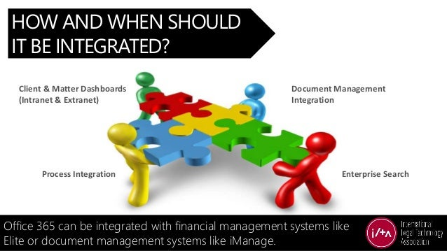 HOW AND WHEN SHOULD IT BE INTEGRATED? Office 365 can be integrated with financial management systems like Elite or documen...
